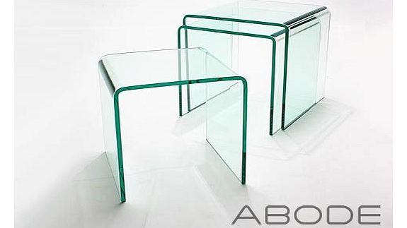 Abode Interiors Nest of 3 Glass Side Tables - Glass Nesting Tables - Glass Furniture
