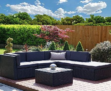 Abreo Rattan Modular Corner Sofa Set Garden Conservatory Furniture 5 To 9 Pcs INCLUDES GARDEN FURNITURE COVER (Acapulco, Black with Dark Cushions)