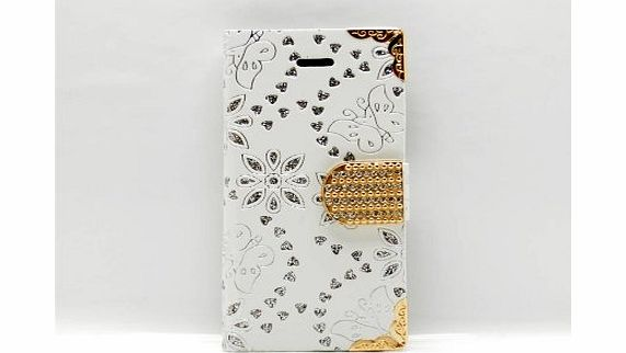 ACCESSORIES4ELECTRONICS iPhone 5s / 5 White Wallet Clutch Purse Butterflies Flowers Credit Bank Card Holder Glitter Bling Diamante Diamands Look All Over Designer Case Accessories Cover product image