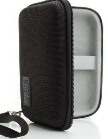 Accessory Genie Black Hard Shell Case Cover for Portable USB External Hard Disk Drives with Travel Wrist Strap- Will fit Samsung M3 1TB , HGST Touro Mobile MX3 , Buffalo MiniStation , LaCie P9220 , Freecom 34913 &amp product image