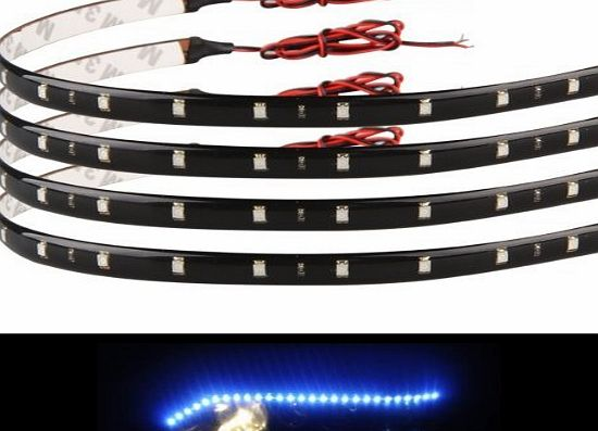 TM) Flexible LED Waterproof Car Grill Strip Light Lighting LEDs Decoration Lamp Bulb White(Pack of 4)