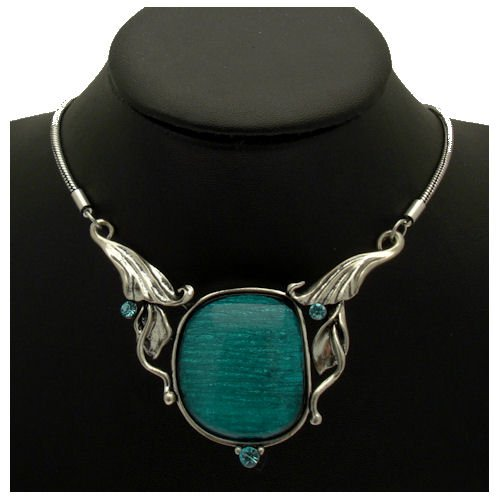 Acosta Jewellery Acosta - Vintage Inspired with Aqua Crystal - Abstract Design Turquoise Blue Necklace - Costume Jewellery product image