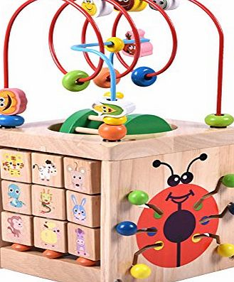 Acwenie 7 in 1 Wood Garden Bead Maze Activity Cube Toys Games For Kids Early Development Toys Halloween Christmas New Year Toys Gifts For Kids