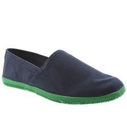 Male Toe Touch Fabric Upper in Navy and Green