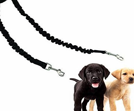 ADOGO Double Pet Dog Bungee Leash Lead Coupler for Walking Two Dogs