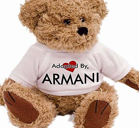 AdoptedBy Adopted By ARMANI Teddy Bear Wearing a Personalised Name T-Shirt