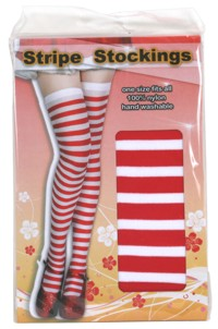 adult Striped Stockings (Red/White)