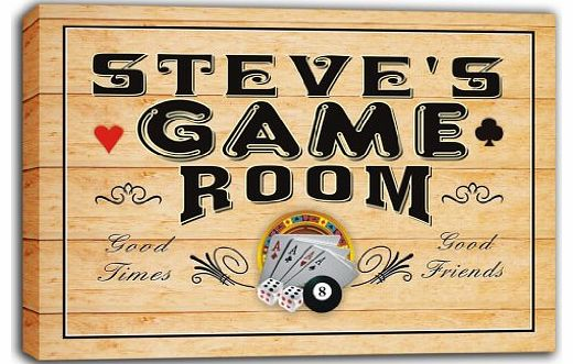 AdvPro Canvas scPL1-0074 STEVES Game Room Casino Bar Stretched Canvas Print Sign