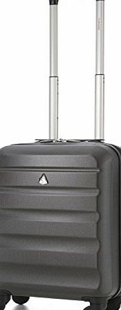 Aerolite Hard Shell 4 Wheel Spinner Super Lightweight Hand Luggage Cabin Travel Suitcase (21``, 55cm, 33L, Charcoal) - Suitable for all major airlines, including Ryanair and Easyjet