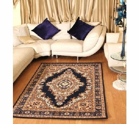 AHOC Floral Blue Traditional Navy Blue Medallion Rug Carpet Persian Style Rugs Runner Modern Soft Carpet (80cm x 150cm (2ft 7`` x 4ft 11``)) product image