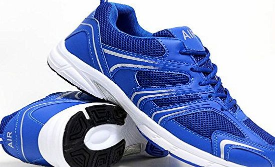 Airtech Mens Shock Absorbing Running Shoes Trainers Jogging Gym Walking Fitness Sports Trainer New Shoes (9 UK, S2 Blue / White)