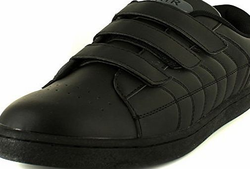 Airtech New Mens/Gents Black Airtech Manhattan Touch Fastening Trainers. - Black/Black - UK SIZE 9