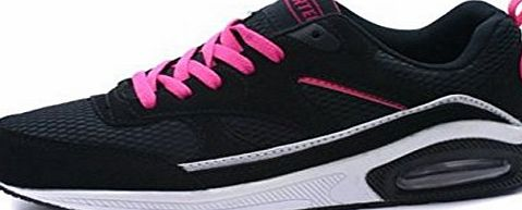 Airtech Womens Girls Air Bubble Max Running Sport Trainers Airtech Shoes Sizes UK 3-8 (UK 3, Black/Pink)