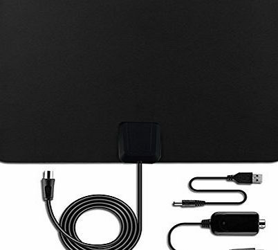Aizbo 50 Miles Range Digital Indoor TV Aerial HDTV Antenna with Detachable Amplifier Signal Booster,13 Feet Coax Cable for Digital Freeview and Analog TV Signals, Ultra Thin Super Soft TV Aerial Wind