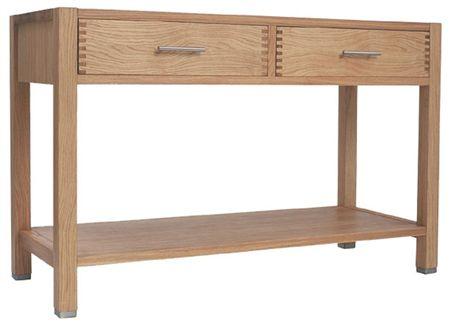 Console entr e design alba ch ne fonc avec miroir 2 - Table console chene ...