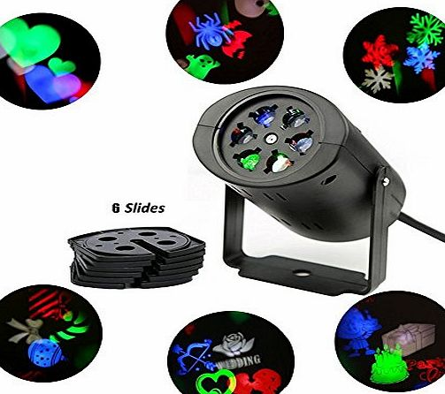 ALED LIGHT LED Landscape Projector Lamp Moving Snowflake Spotlight 6 Gobo Lens Fairy Light Perfect For Christmas Halloween Wedding Party Decor