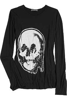 Black long sleeve paper thin cotton T-shirt with a trompe l - CLICK FOR MORE INFORMATION