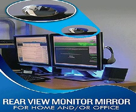 ALL-SEEING-i MONITOR MIRROR Rear View Monitor Mirror - Fits Regular amp; Flat Screen LCD Monitors with Magnifier HDMI Cable Hanging Accessories Charms - Wall Mount Arm Riser Stand Mac amp; Multi Screens - White Wide Angle Conv