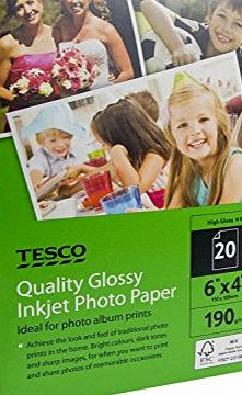 Allcam 6 Pack: Quality Glossy Tesco Photo Paper 6x4`` (150x100 mm) 190 g/m2 for all Inket amp; Laser Printers (20 sheets/pack,120 sheets in total)