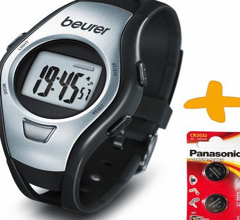 Allcam Beurer PM15 Strapless Heart Rate Monitor Sports Watch  2 Spare Batteries. (Two Sensors for accurate heart rate reading, Waterproof to 50 Metres, Time, Alarm, Stopwatch, Countdown Modes)