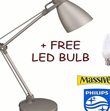 Allcam Philips Massive Brand Benjamin 3 Joints Adjustable Table Desk Lamp 40W Reach 52 cm Height in Elegant Silver w/ Free 4W LED Bulb Included