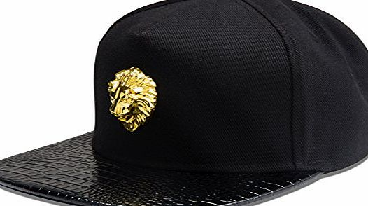 AlwaysBling Hip Hop Style Fashion Unisex 5 Colors Lion Head Logo Tag Baseball Cap Hat (Black)