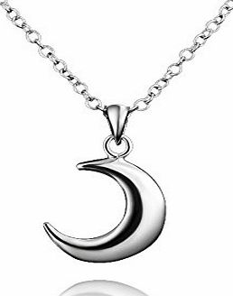 AmberMa ``Moon Touch`` Crescent Moon Pendant Necklace Sterling Silver Fashion for Women Girls
