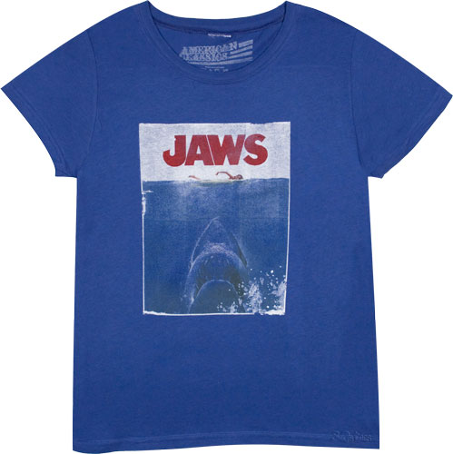 This iconic ladies Jaws t-shirt features a distressed print of the original movie poster used to pro - CLICK FOR MORE INFORMATION