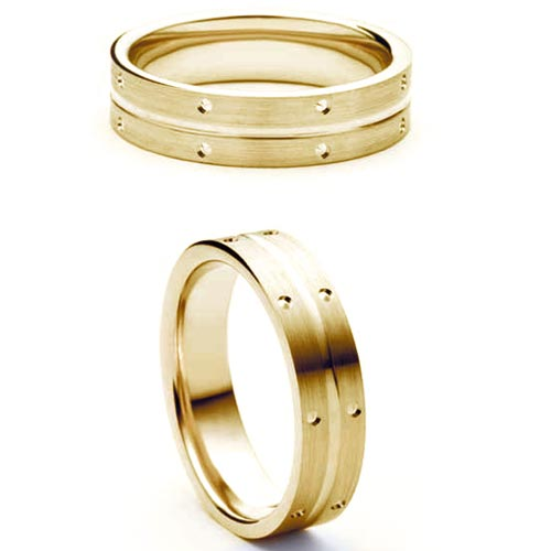 5mm Medium Flat Court Amity Wedding Band Ring In 18 Ct Yellow Gold