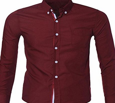 Amlaiworld Mens Luxury Long Sleeve Casual Slim Shirt (L, Red)