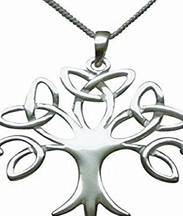 Amore Bracciali Sterling Silver Celtic Trinity Tree of Life Necklace (Crann Bethadh) Womans Size On 16`` to 18`` (40.5 to 45.7cm) High Quality Italian Extending Box Chain