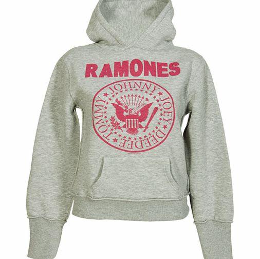 Amplified Clothing Ladies Grey Marl Ramones Logo Hoodie from
