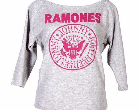 Amplified Clothing Ladies Pink Ramones Logo Slash Neck Sweater from product image