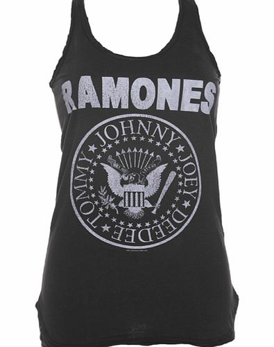 Amplified Vintage Ladies Ramones Logo Charcoal Racer Vest from