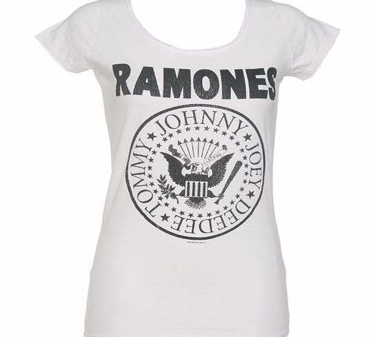 Amplified Vintage Ladies White Classic Ramones Logo T-Shirt from product image
