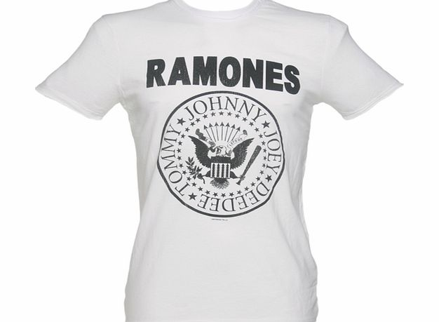 Amplified Vintage Mens Classic White Ramones Logo T-Shirt product image