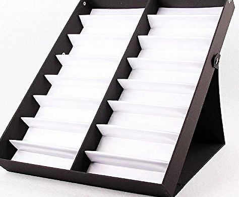Amzdeal 16 Slots Eyewear Sunglass Display Showing Box Tray Case Glasses Storage Box for 16 Eyeglasses