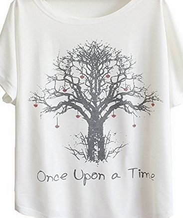 ANDI ROSE Womens Tee Short Sleeve Loose Printing White Funny T Shirts T-Shirt (Tree print)