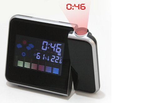 Andoer Digital LCD Screen LED Projection Projector Alarm Clock With Weather Station