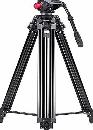 Andoer Professional Aluminum Alloy Camera Video Tripod Panorama Fluid Hydraulic Head Ballhead for Canon Nikon Sony DSLR Recorder DV Max Height 67 Inches Max Load 10KG