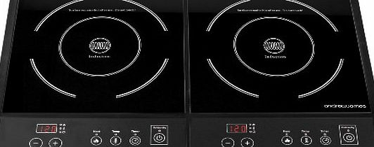 Andrew James Digital Electric Double Induction Hob 2800 Watts