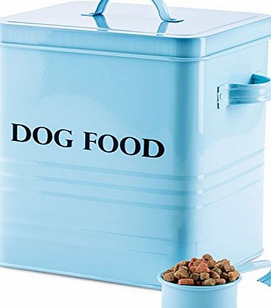 Andrew James Dog Food and Treats Storage Canister Vintage Classic Blue 2.5kg Capacity