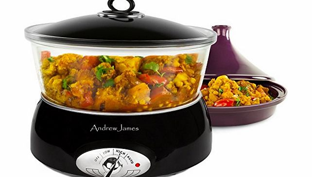 Andrew James Premium Glass Slow Cooker 6.5 Litre Black, Including A Tagine Attachment product image