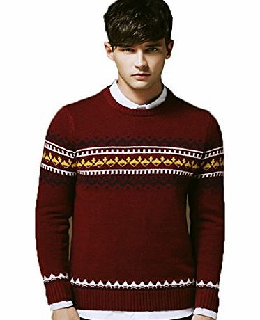 Andux Men Sweater Winter Rhombus Pullover Round Neck Cardigan SS/MY-01 Red (M, Red)