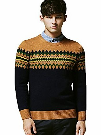 Andux Mens Casual Round Neck Knitting Tops Solids Pullover Sweaters Cardigan SS/MY-03 (L, Blue/yellow)