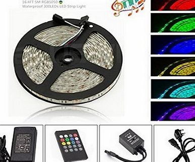 Aneo ED LIGHT Flexible LED RGB Music Light Strip 5050 SMD 300 LEDs, Waterproof IP65 LED Rope, 5 Meters/16.4ft Tape Light Kits with 20 Key IR Remote   12V 5A UK Plug Adapter, Ideal For Homes, Kitchen,
