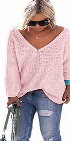 Anglewolf Women Loose Long Sleeve Knitted Pullover (L, Pink)
