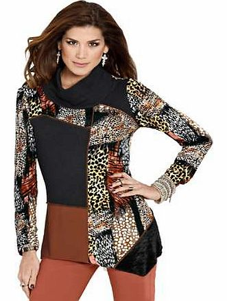 Animal Print Cowl Neck Patchwork Top