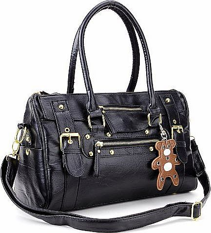 Anladia Ladies Womens Handbag Designer Satchel Collage Shoulder Bag Across Body duffle bear key ring accesss