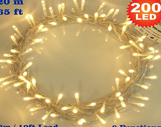 ANSIO Fairy Lights 200 LED Warm White Christmas Tree Lights Indoor String Lights - 8 Functions 20m/65ft Lit Length with 3m/10ft Lead Wire Power Mains Operated Ideal for Christmas Tree Festive Wedding Birthd